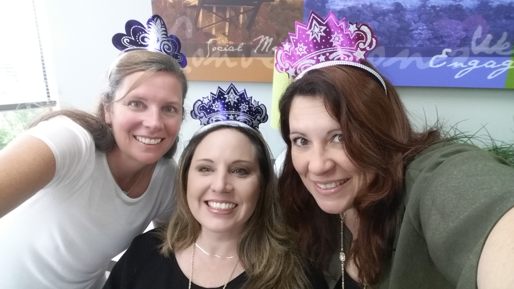 DeAnna Rogers, Carey Naab and Carol McCrary prepared for birthday shenanigans