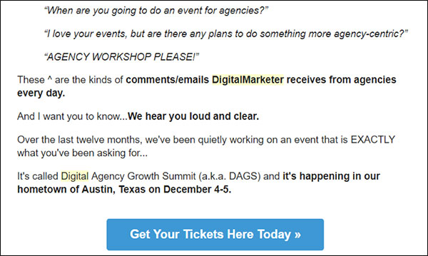 DigitalMarketer example compelling email copy