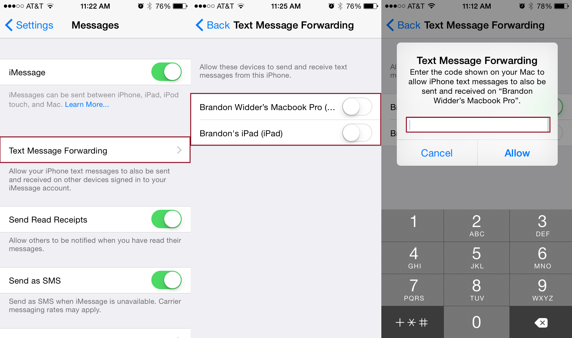 how can i receive sms messages on my ipad