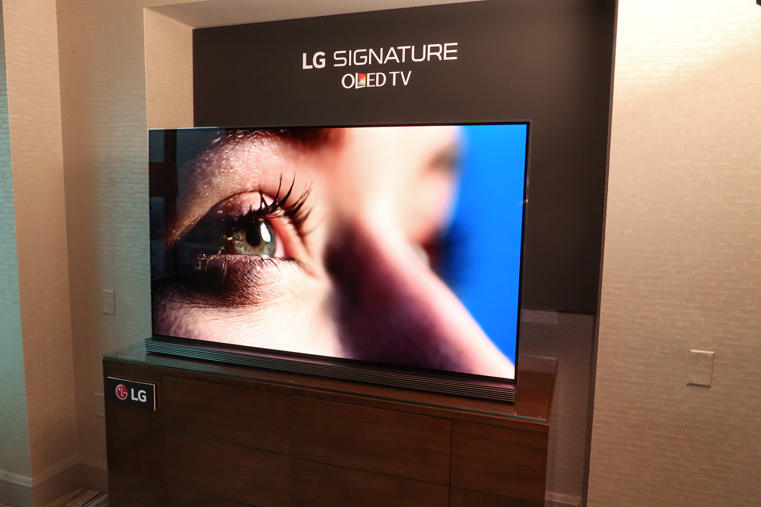 oled just got cheaper lg s ultra thin 65 inch signature g6 oled tv available for pre order. Black Bedroom Furniture Sets. Home Design Ideas