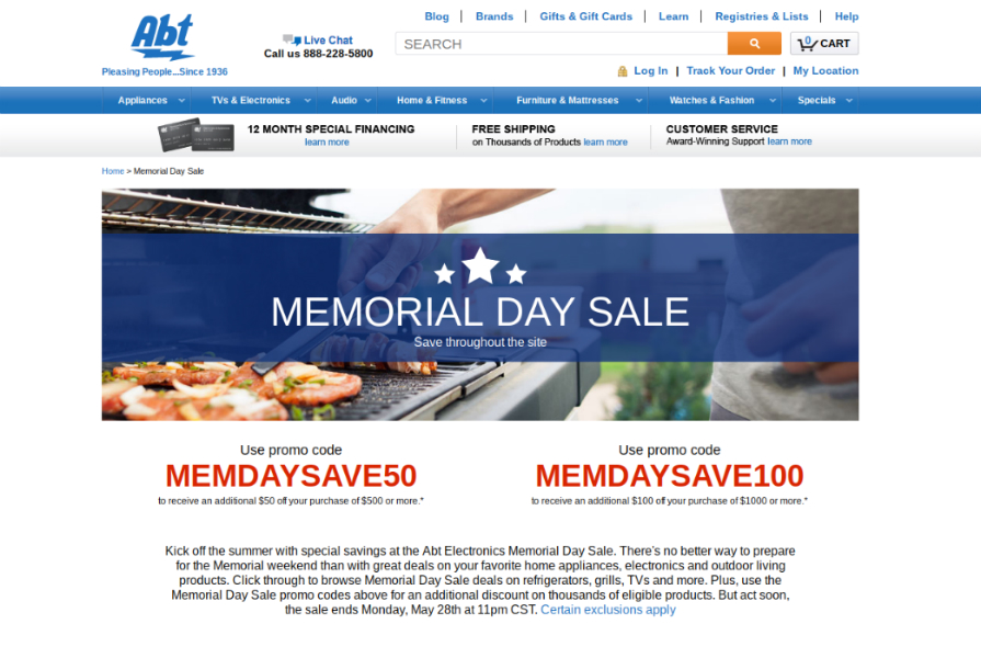 Memorial Day Kitchen Appliance Sale