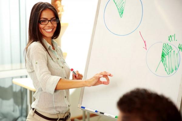 Attractive businesswoman explaining a graph