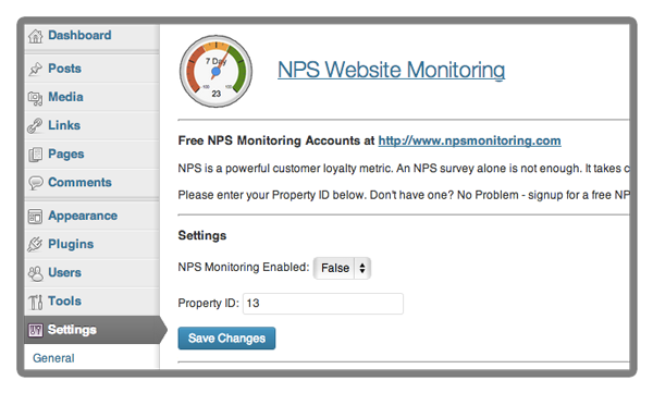 NPS WordPress Plugin - Control Panel