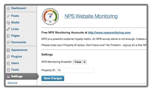 NPS Wordpress Plugin - Control Panel