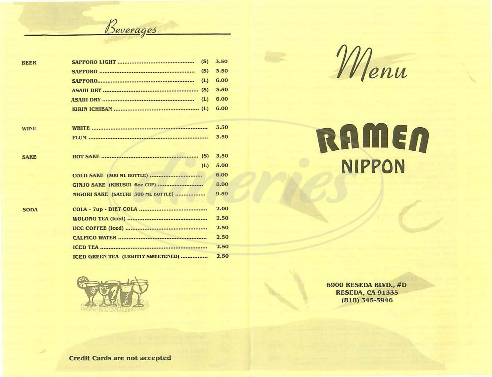 Nippon Japanese Restaurant Menu