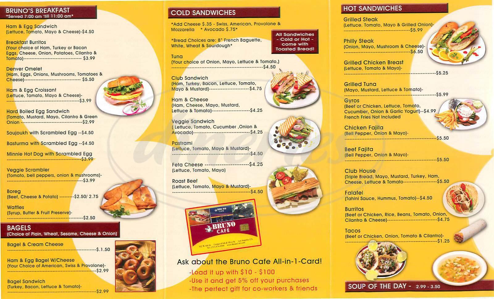 Bruno S Restaurant Menu