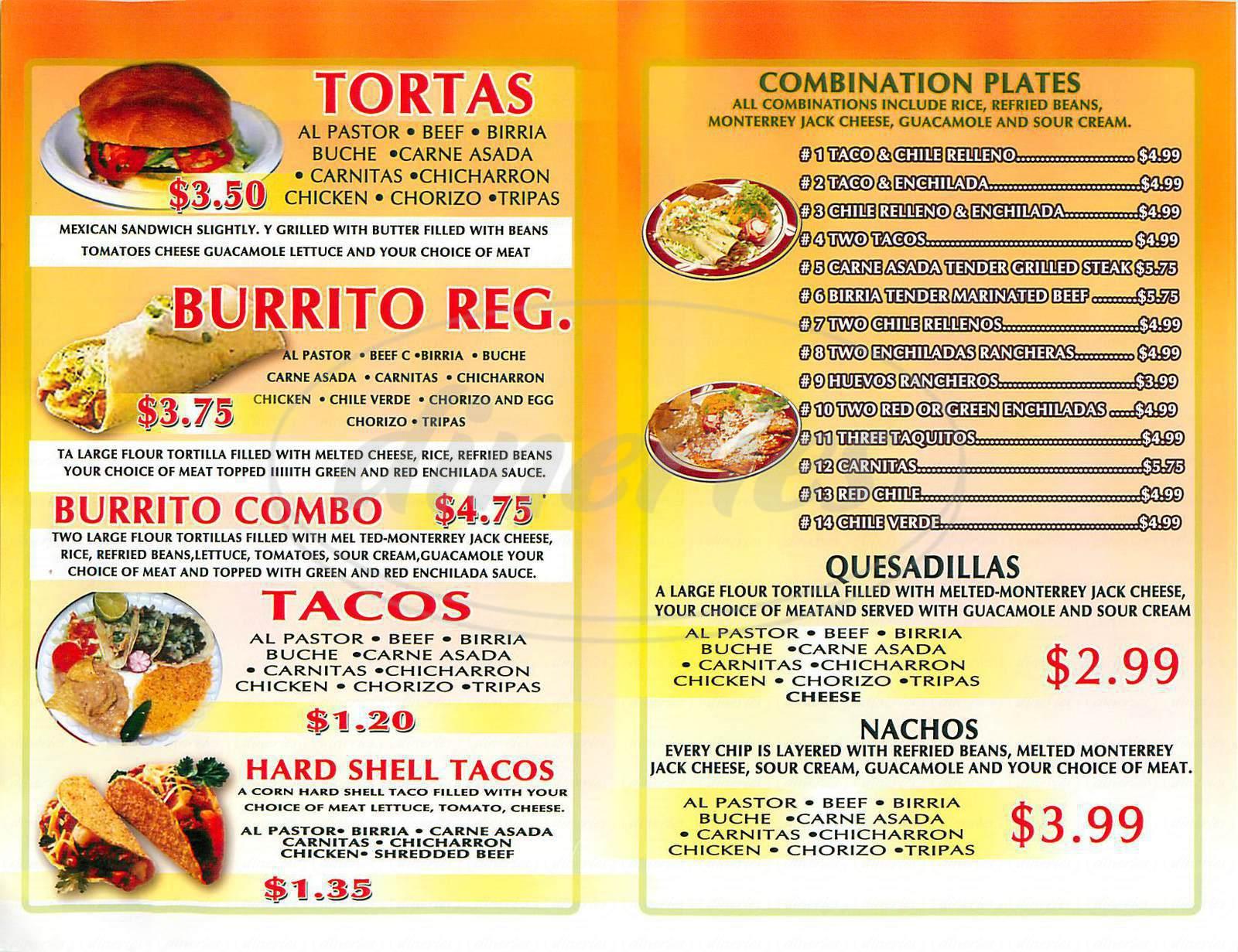 El Jardin Mexican Restaurant Menu