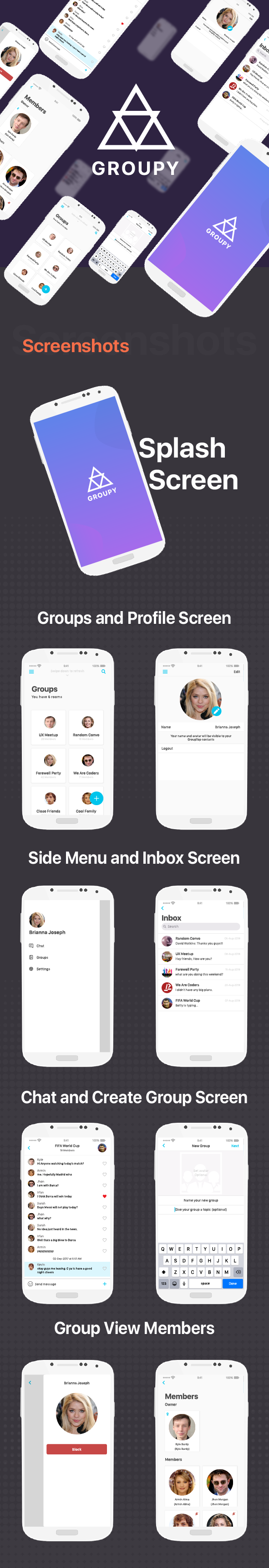 Groupy - Group Chat Messenger App like GroupMe - 1