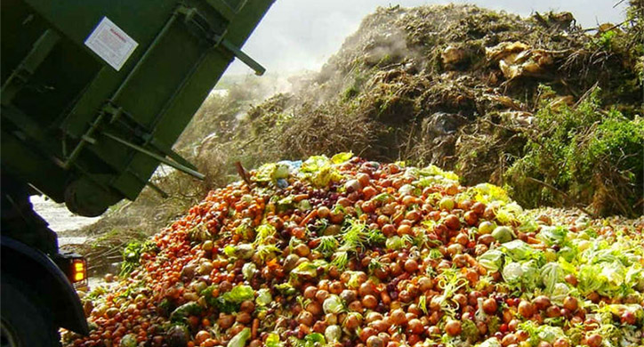 discarded food in a landfill