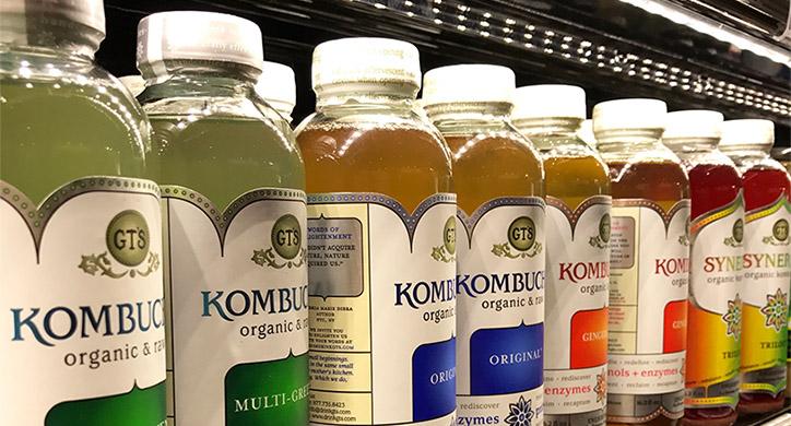 kombucha on a grocery shelf