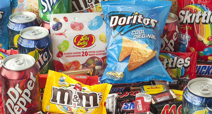 soda, chips, candy, junk food