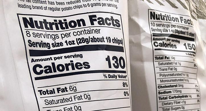 nutrition facts label on a potato chip bag