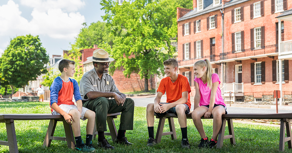 Harpers Ferry National Historical Park Ranger with kids