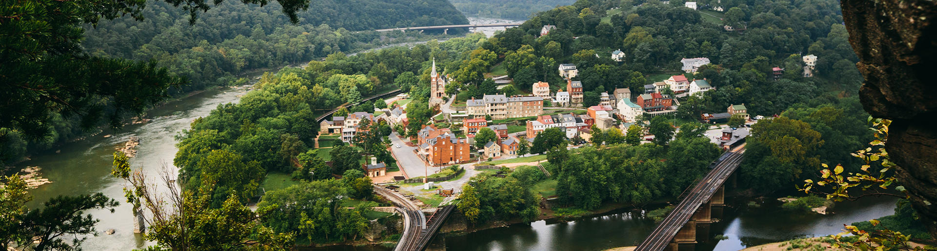 View of Harpers Ferry West Virginia from Maryland Heights Trail
