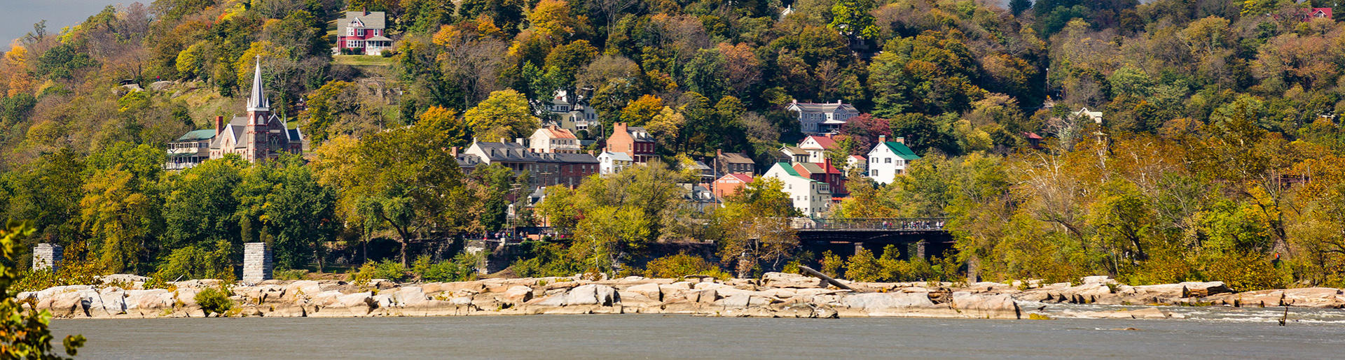 historic Harpers Ferry West Virginia from Potomac and Shenandoah Rivers