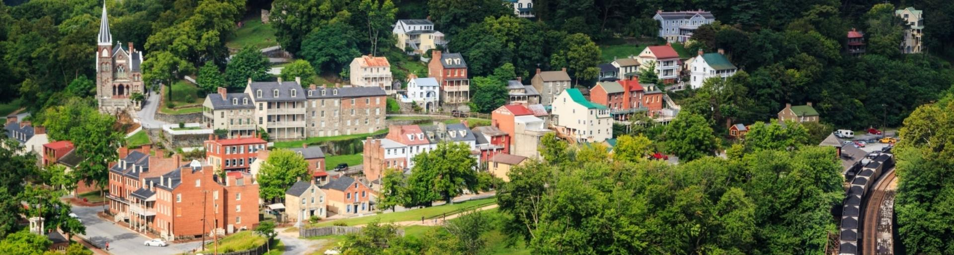 Scenic view of historic Harpers Ferry West Virginia from Maryland Heights Trail
