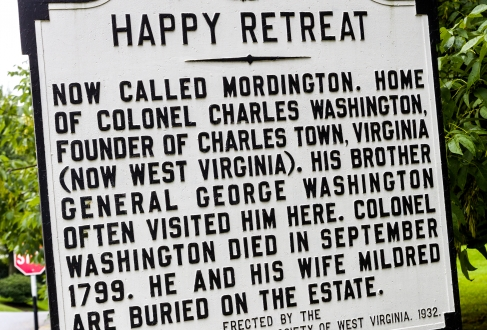 Happy Retreat historical sign marker Charles Town West Virginia