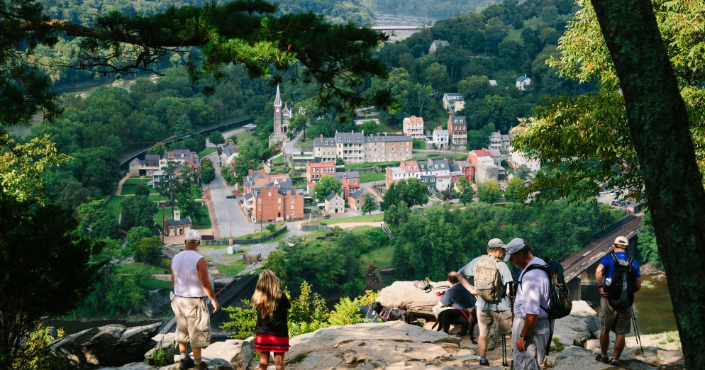 Scenic view of harpers ferry West Virginia from Maryland heights trail