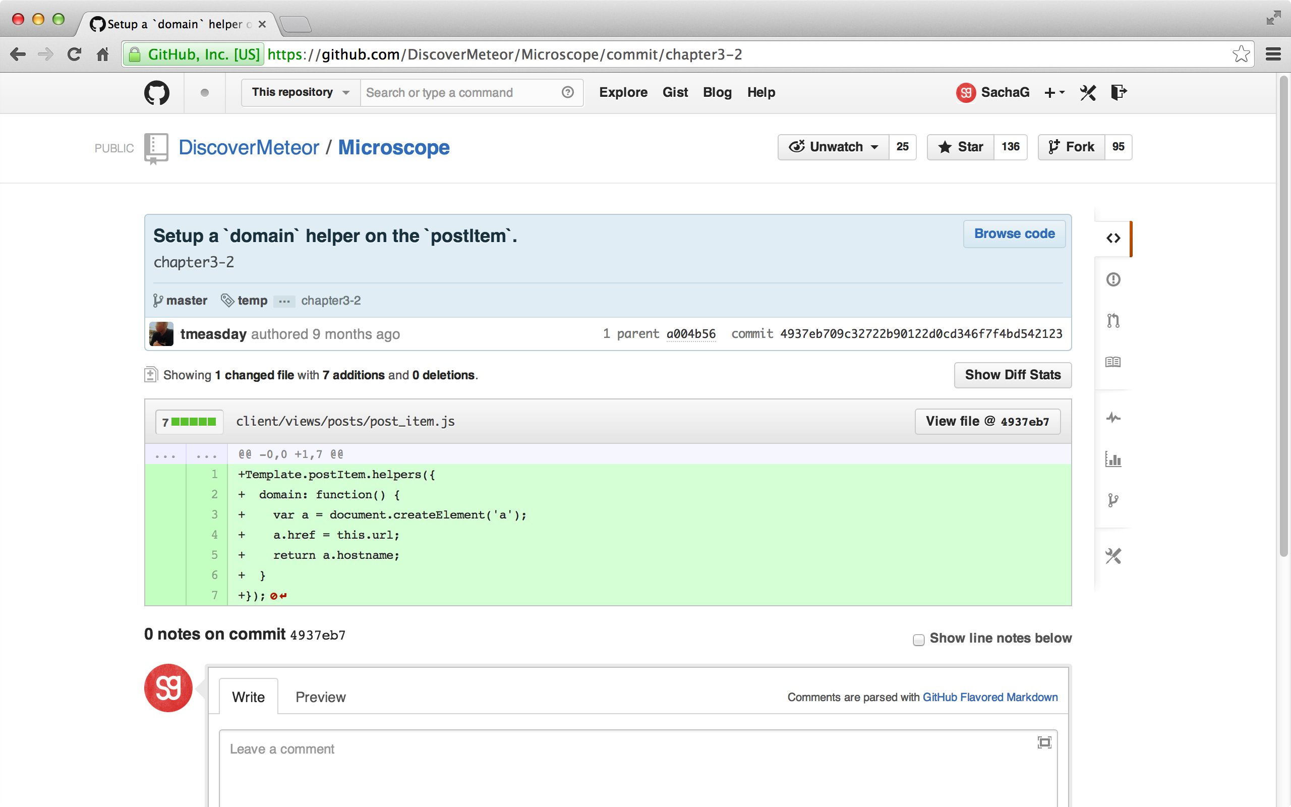 A Git commit as shown on GitHub.