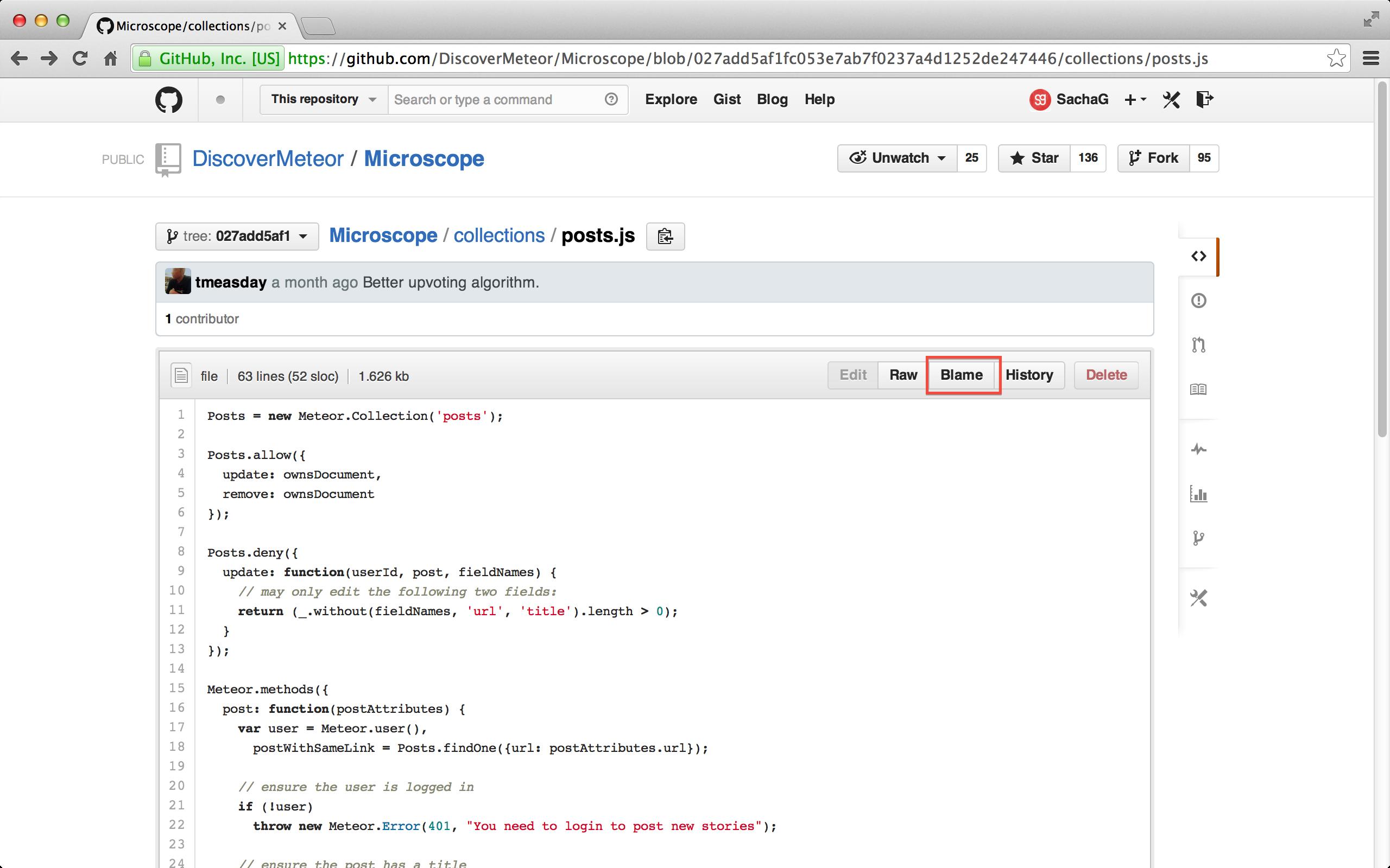 Przycisk Blame w GitHub.