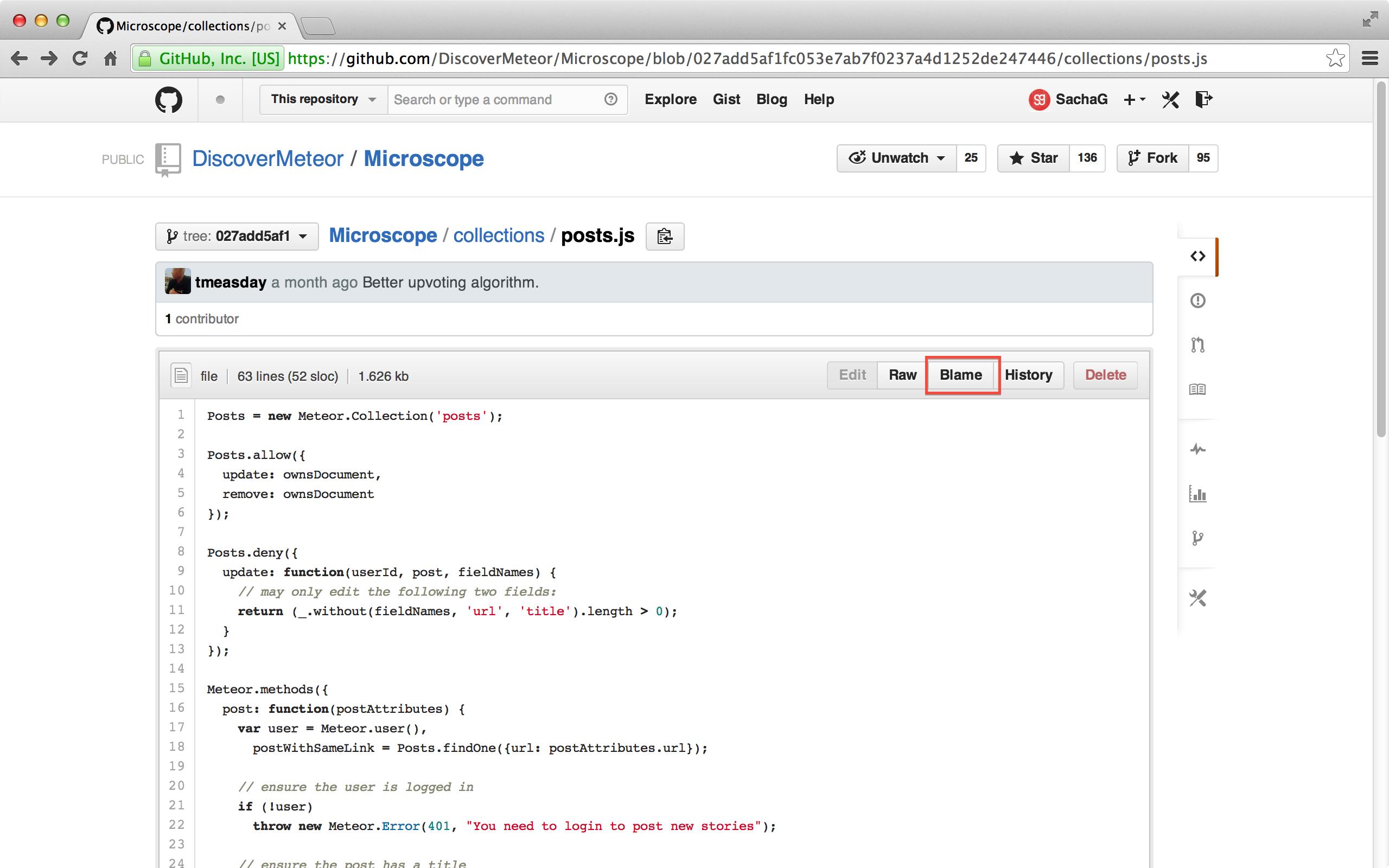 GitHub's Blame button.