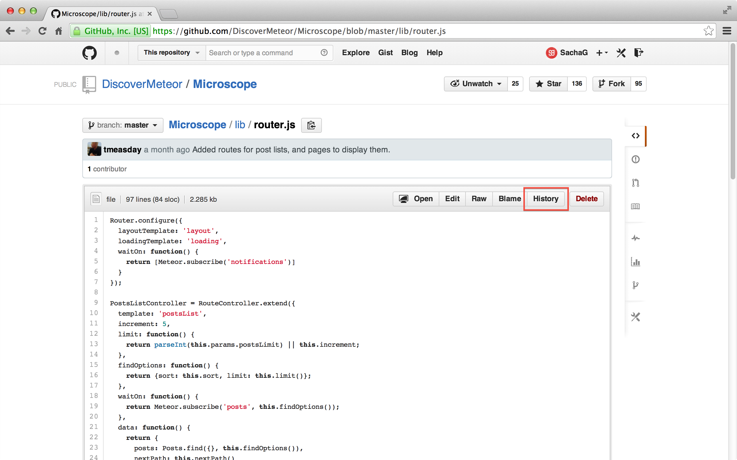 Przycisk History w GitHub.
