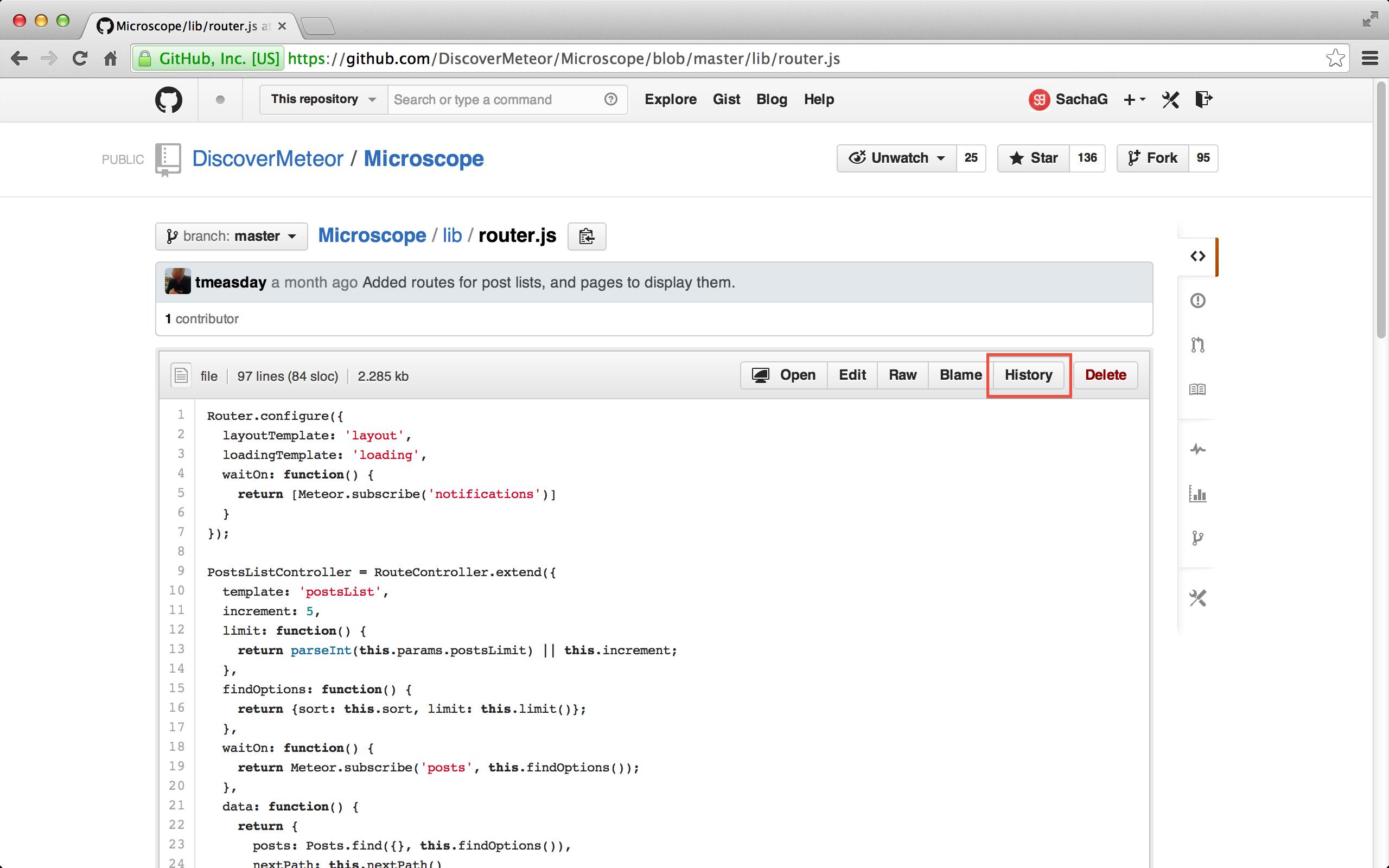 GitHub의 History 버튼.