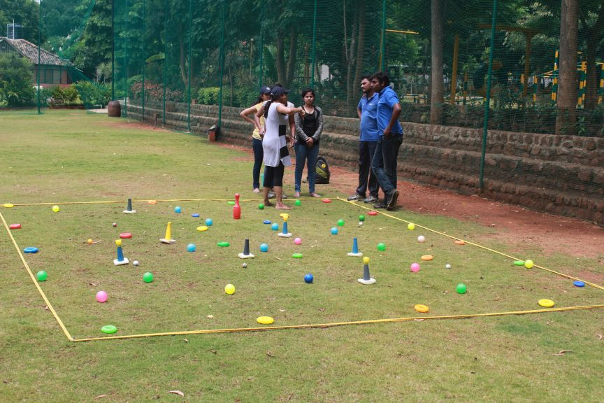 Land mine activity is a group fun filled activity for - Team building swimming pool games ...