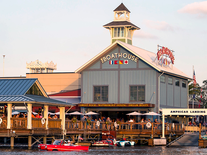 Exterior of The BOATHOUSE restaurant adjacent to the Amphicar Landing along Lake Buena Vista