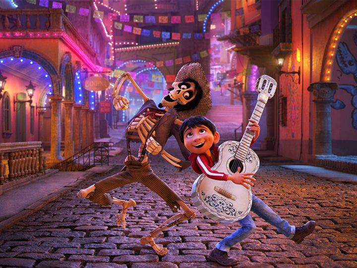 Miguel plays the guitar while dancing with Hector in Disney Pixar's Coco