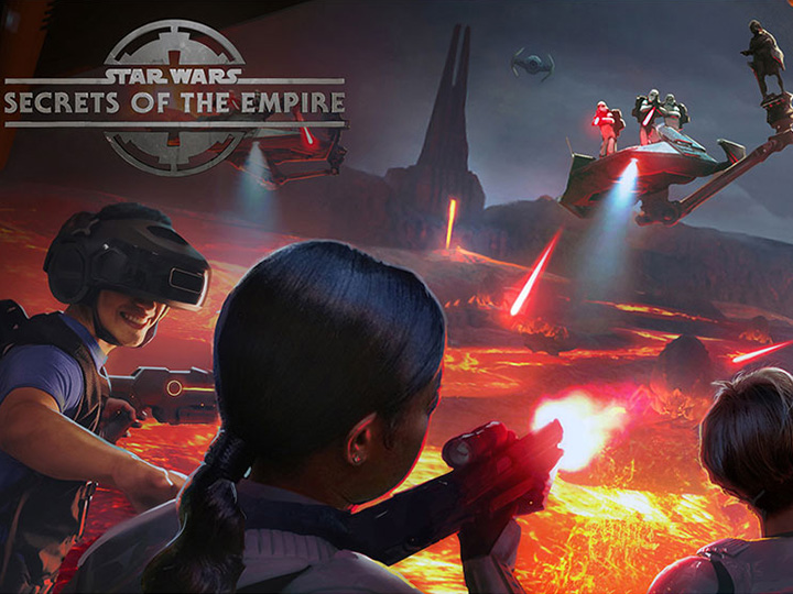 An artist rendering of Guests enjoying a fiery action sequence during the Star Wars: Secrets of the Empire hyper reality experience