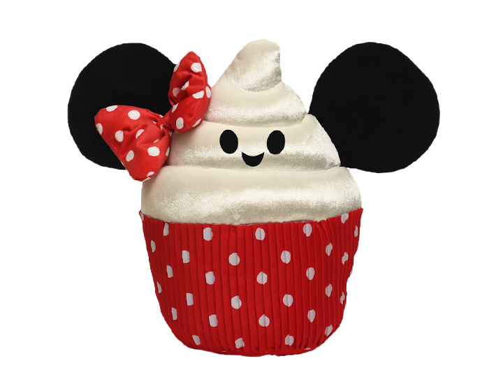A plush toy replica of a Minnie Mouse cupcake has a cupcake wrapper bottom and a frosting top with a smiling face, a hair bow and Minnie ears