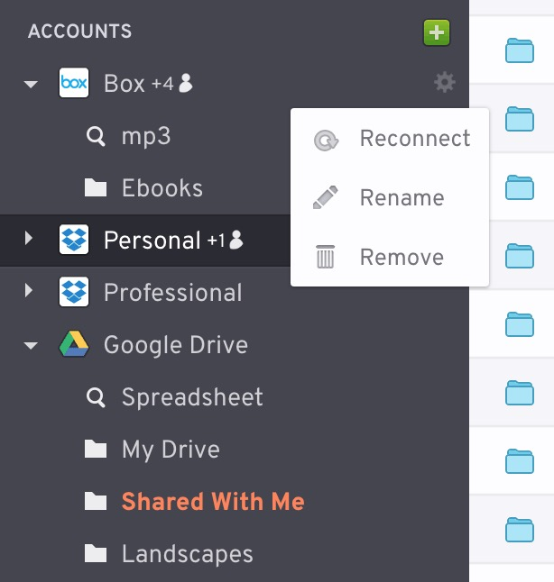 Connection menu