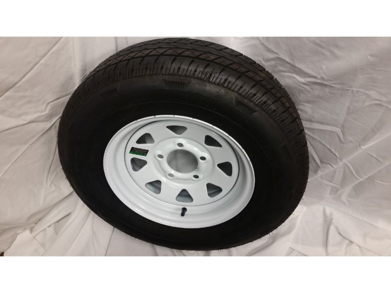 ST175/80/R13 Trailer Wheel/Radial Tire, 5 Lug White Spoke (Copy)