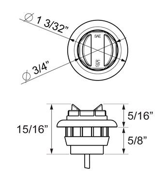 Red 3/4 inch PC rated marker/clearance light with A11GB grommet