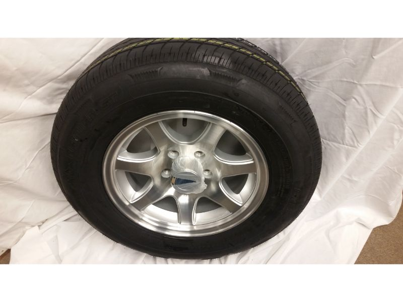 ST205/75/R15 Trailer Wheel/Radial Tire, 5 Lug Aluminum 7 Spoke Wheel
