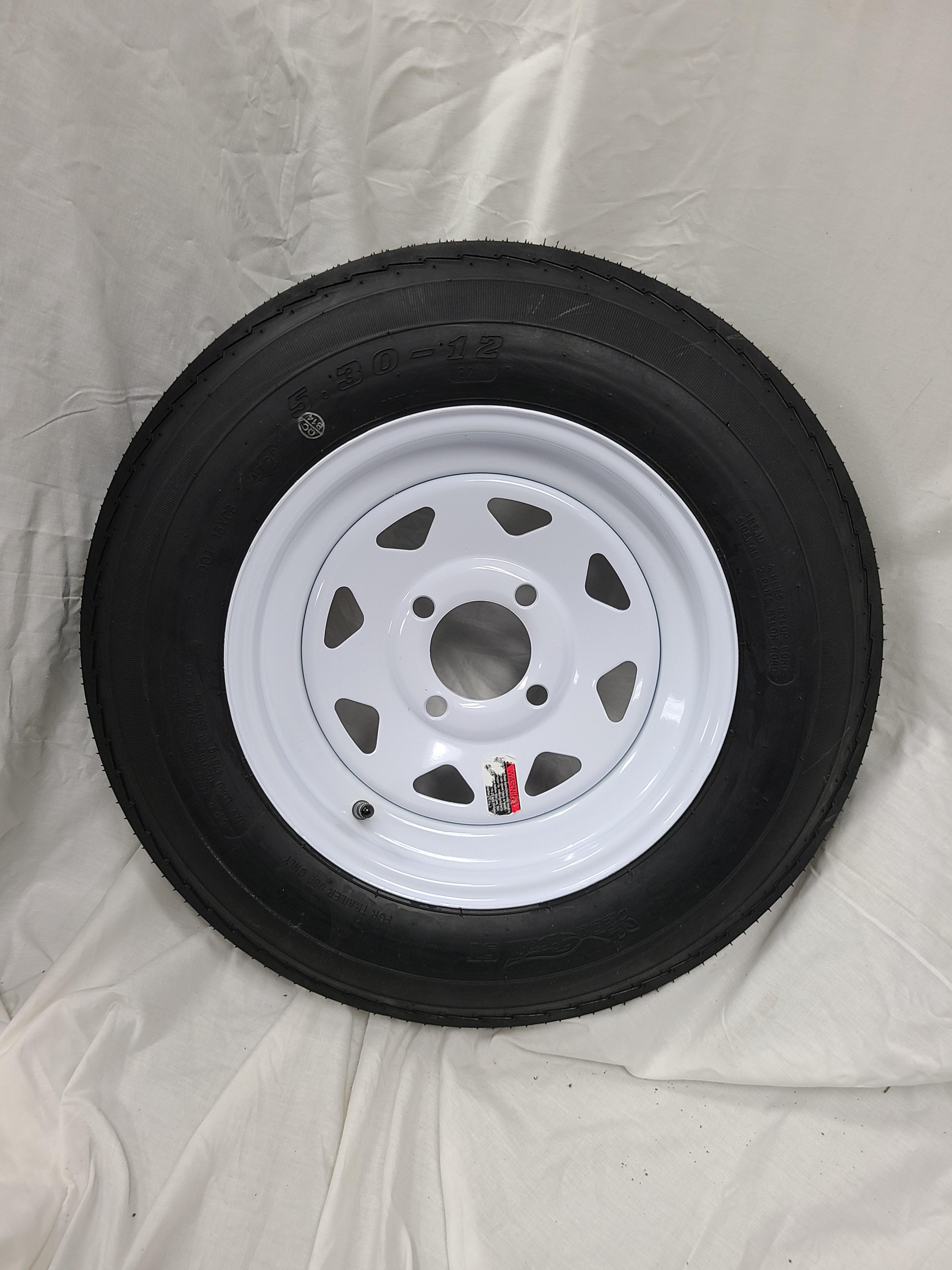 5.30X12 Trailer Tire Load Range C 4 Lug white Spoke