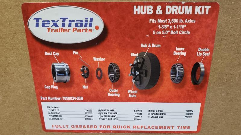 DEXTER HUB AND DRUM KIT 3.5K 5 ON 5 GREASED W/BEARINGS
