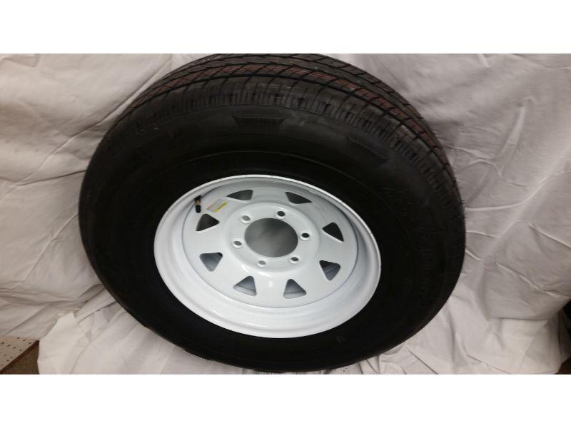 ST225/75/R15 Trailer Wheel/Radial Tire, 6 Lug White Spoke