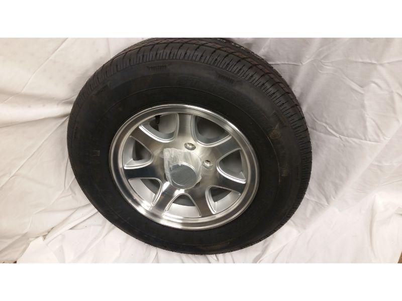 ST175/80/R13 Trailer Wheel/Radial Tire, 5 Lug Aluminum 7 Spoke