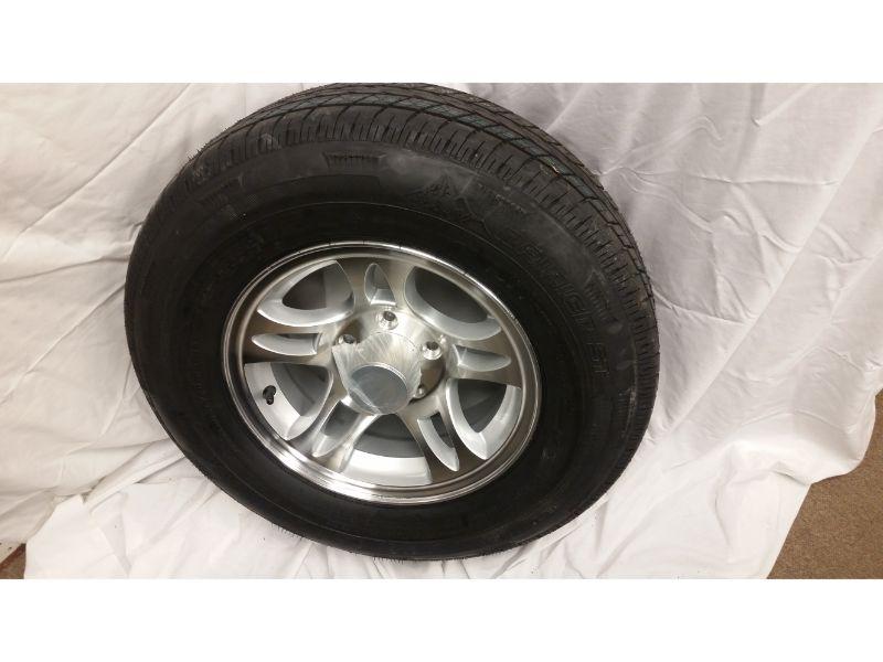 ST205/75/R14 Trailer Wheel/Radial Tire, 5 Lug Aluminum Split Spoke Wheel