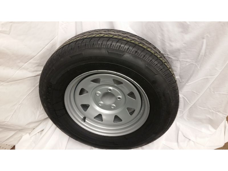 ST205/75/R15 Trailer Wheel/Radial Tire, 5 Lug Silver Spoke