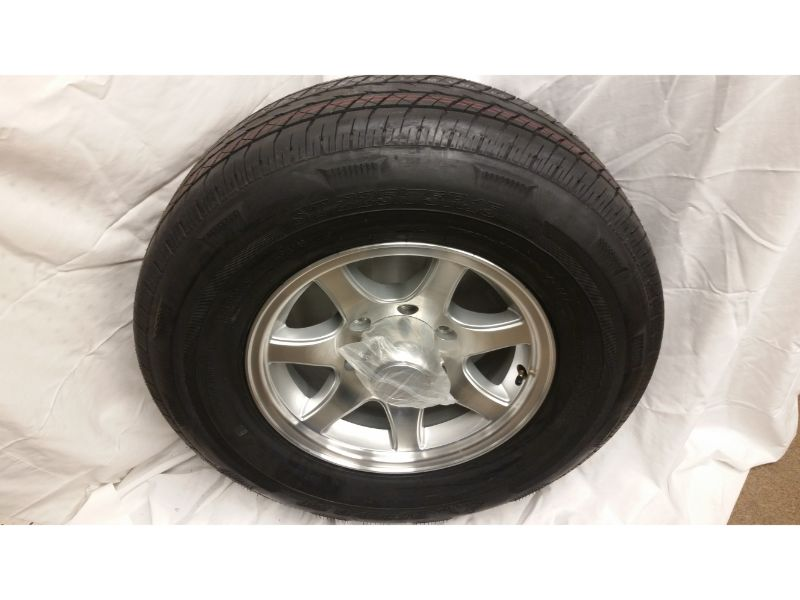 ST225/75/R15 Trailer Wheel/Radial Tire, 6 Lug Aluminum 7 Spoke Wheel