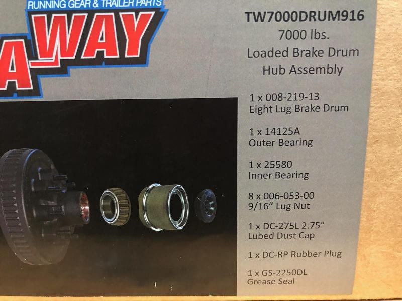 7000lbs Loaded Brake Drum Hub Assembly