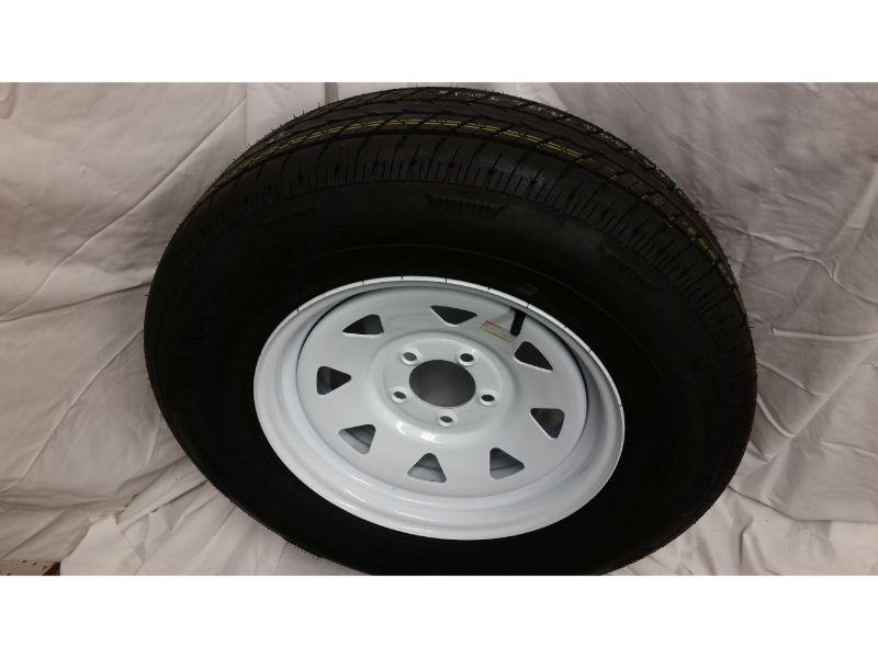 ST205/75/R15 Trailer Wheel/Radial Tire, 5 Lug White Spoke