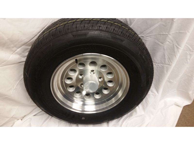 ST205/75/R15 Trailer Wheel/Radial Tire, 5 Lug Aluminum Mod Wheel (Copy)