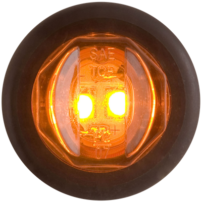 Yellow 3/4 inch PC rated marker/clearance light with A11GB grommet