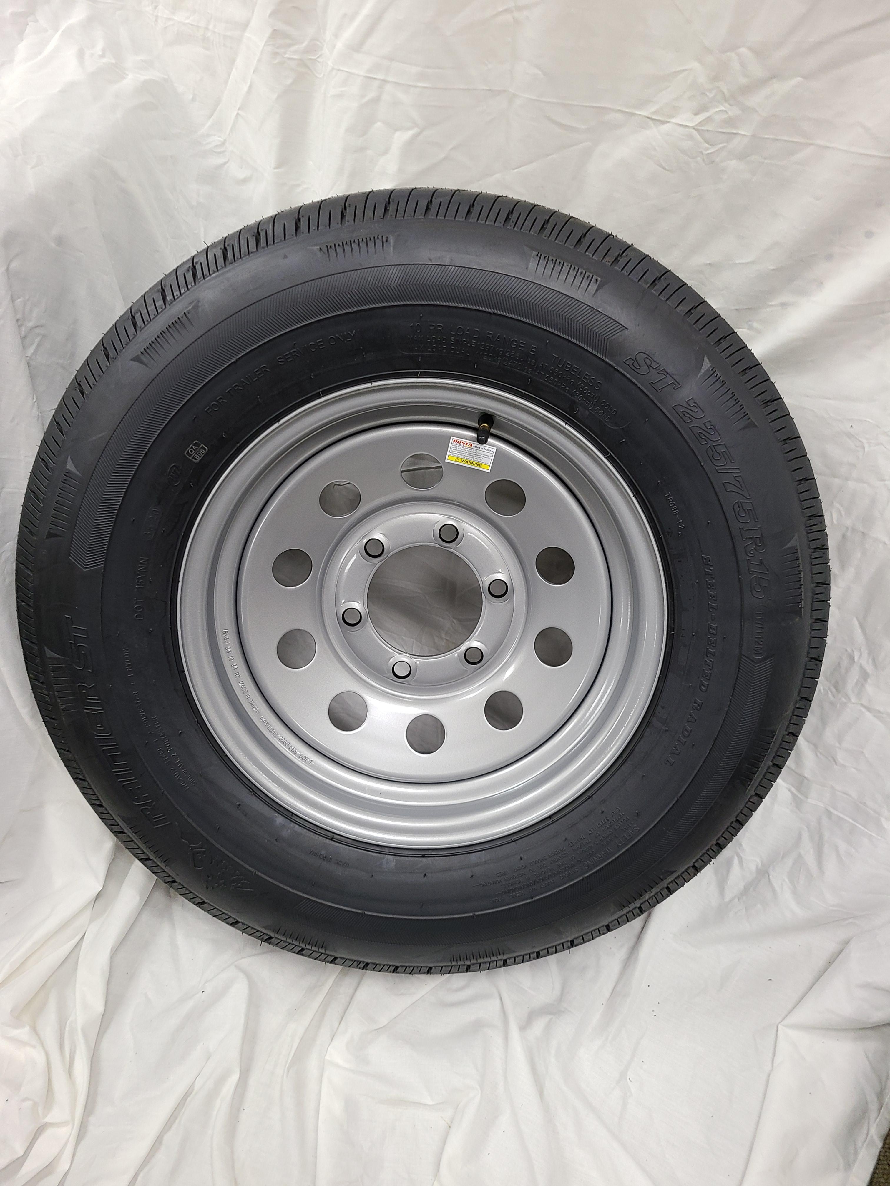ST225/75/R15 Load Range E 6 Lug Silver Mod Wheel