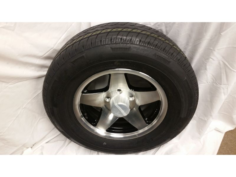 ST205/75/R15 Trailer Wheel/Radial Tire, 5 Lug Aluminum  Black Star Wheel