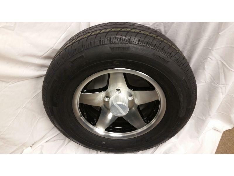 ST205/75/R15 Trailer Wheel/Radial Tire 5 Lug Aluminum  Black Star Wheel